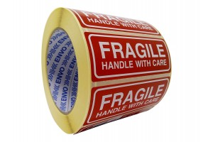 100 Fragile uzlīmes Handle with care uzlīmes 90x35 mm