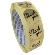 1000 Gold Thank You uzlīmes, Apaļas formas , izmērs 25mm.