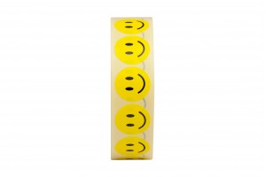 1000 Smile Face uzlīmes, Apaļas formas , izmērs 25mm