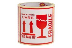 Fragile uzlīmes This way up uzlīmes Handle with care uzlīmes 10x10cm