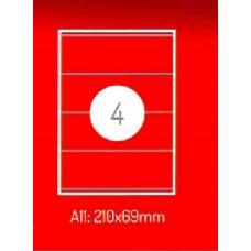 Adrešu Uzlīmes 210 x 69 mm 4gab. uzlīmes 100lpp. baltas [400 Uzlīmes]