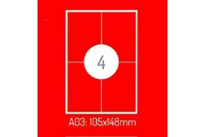 Adrešu Uzlīmes 105 x 148 mm 4gab. uzlīmes 100lpp. baltas [400 Uzlīmes]