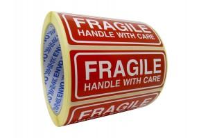 250 Fragile uzlīmes Handle with care uzlīmes 90x35 mm