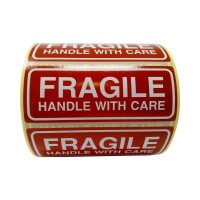 250 Fragile uzlīmes Handle with care uzlīmes 90x35 mm