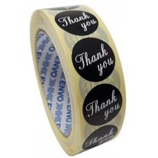 1000 Melnas Thank You uzlīmes, Apaļas formas , izmērs 25mm.